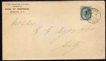 Canada 1900's cover locally used bearing QV 1c stamp, cover with Bank of Montreal imprint upper left