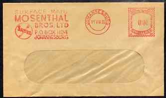 South Africa 1939 window envelope with 1/2d meter slogan cancel from Mosenthal Bros Ltd, Sabre