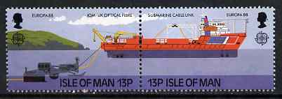 Isle of Man 1988 Laying Submarine Cable se-tenant pair (from Europa set) unmounted mint, SG 381a