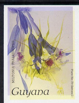 Guyana 1985-89 Orchids Series 2 plate 79 (Sanders' Reichenbachia) unmounted mint imperf single in black & yellow colours only with blue & red from another value (plate 72) printed inverted, most unusual and spectacular*