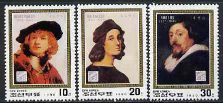North Korea 1990 Belgica '90 Stamp Exhibition perf set of 3 (Portraits) unmounted mint, SG N2965-67