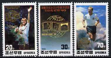 North Korea 1990 D\9Fsseldorf '90 Stamp Exhibition perf set of 3 (Sports) unmounted mint, SG N2968-70