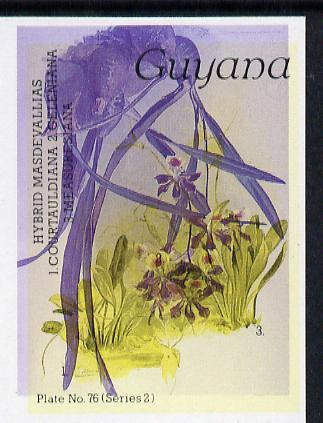 Guyana 1985-89 Orchids Series 2 plate 76 (Sanders' Reichenbachia) unmounted mint imperf single in black & yellow colours only with blue & red from another value (plate 72) printed inverted, most unusual and spectacular*