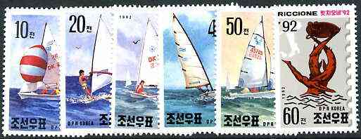 North Korea 1992 Riccione 92 Stamp Fair (Yachts) perf set of 6 unmounted mint, SG N3175-80*