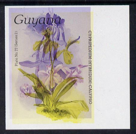 Guyana 1985-89 Orchids Series 2 plate 77 (Sanders' Reichenbachia) unmounted mint imperf single in black & yellow colours only with blue & red from another value (plate 40) printed inverted, most unusual and spectacular*