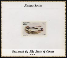 Oman 1972 Fish (Lochleven Trout) imperf (10b value) mounted on special 'Nature Series' presentation card inscribed 'Presented by the State of Oman'