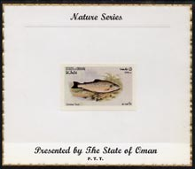 Oman 1972 Fish (Common Trout) imperf (5b value) mounted on special 'Nature Series' presentation card inscribed 'Presented by the State of Oman', stamps on fish, stamps on trout