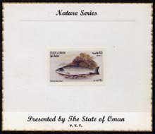 Oman 1972 Fish (Galway Sea Trout) imperf (15b value) mounted on special 'Nature Series' presentation card inscribed 'Presented by the State of Oman'