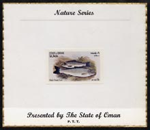 Oman 1972 Fish (Black Finned Trout) imperf (8b value) mounted on special 'Nature Series' presentation card inscribed 'Presented by the State of Oman'