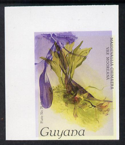 Guyana 1985-89 Orchids Series 2 plate 78 (Sanders' Reichenbachia) unmounted mint imperf single in black & yellow colours only with blue & red from another value (plate 89) printed inverted, most unusual and spectacular