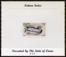 Oman 1972 Fish (Sewen) imperf (3b value) mounted on special 'Nature Series' presentation card inscribed 'Presented by the State of Oman'