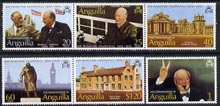 Anguilla 1974 Birth Centenary of Sir Winston Churchill set of 6 unmounted mint, SG 181-86, stamps on churchill, stamps on personalities, stamps on london, stamps on constitutions, stamps on microphones, stamps on palaces, stamps on statues