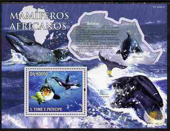 St Thomas & Prince Islands 2010 Animals of Africa - Whales perf souvenir sheet unmounted mint