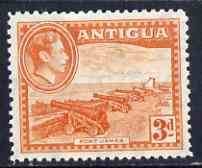 Antigua 1938-51 KG6 Fort James 3d orange unmounted mint, SG 103, stamps on forts, stamps on militaria, stamps on cannon, stamps on  kg6 , stamps on