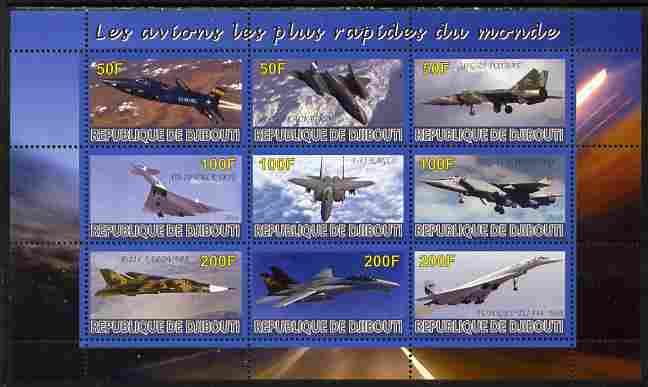 Djibouti 2010 Worlds Fastest Planes perf sheetlet containing 9 values unmounted mint