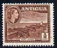 Antigua 1953 Fort James QEII 1/2c brown unmounted mint, SG 120a*, stamps on forts, stamps on militaria, stamps on cannon, stamps on