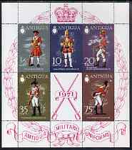 Antigua 1971 Military Uniforms (2nd series) perf m/sheet unmounted mint, SG MS 308