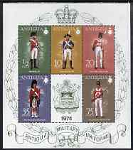 Antigua 1974 Military Uniforms (5th series) perf m/sheet unmounted mint, SG MS385