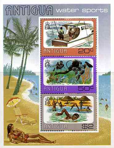Antigua 1976 Water Sports perf m/sheet unmounted mint, SG MS509