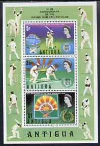 Antigua 1972 50th Anniversary of Rising Sun Cricket Club perf m/sheet unmounted mint, SG MS344