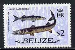 Belize 1974 Great Barracuda $2 (from def set) unmounted mint SG 373