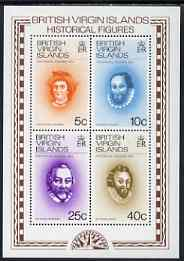 British Virgin Islands 1974 Historical Figures perf m/sheet unmounted mint, SG MS316