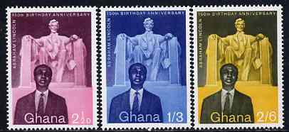 Ghana 1959 Birth Anniversary of Abraham Lincoln perf set of 3 unmounted mint, SG 204-06