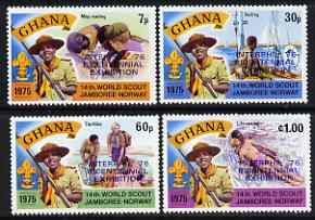 Ghana 1976 Interphil (Stamp Exhibition) opt on Scouts perf set of 4 unmounted mint SG 768-71*