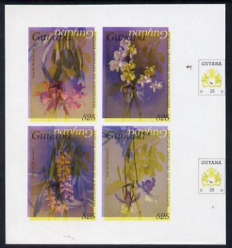 Guyana 1985-89 Orchids Series 2 Plate 46, 55, 57 & 81 (Sanders' Reichenbachia) unmounted mint imperf se-tenant sheetlet of 4 in blue & red colours only with black & yellow from another value (plate 36) printed inverted, most unusual and spectacular