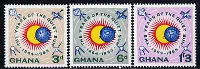 Ghana 1964 International Quiet Sun Year set of 3 in issued colours unmounted mint, SG 332-34, stamps on , stamps on  stamps on space, stamps on  stamps on weather, stamps on  stamps on science, stamps on  stamps on environment