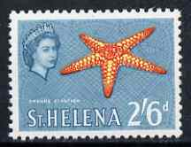 St Helena 1961 Orange Starfish 2s6d from def set (with lace background) unmounted mint, SG 186, stamps on marine life, stamps on lace