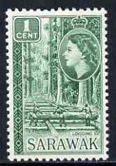 Sarawak 1955 Logging 1c from def set unmounted mint, SG 188, stamps on trees, stamps on timber