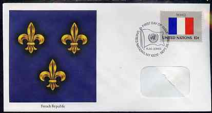 United Nations (NY) 1980 Flags of Member Nations #1 (France) on illustrated cover with special first day cancel