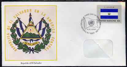 United Nations (NY) 1980 Flags of Member Nations #1 (El Salvador) on illustrated cover with special first day cancel