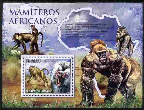 St Thomas & Prince Islands 2010 Animals of Africa - Monkeys perf souvenir sheet unmounted mint