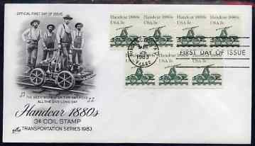 United States 1981-91 Transport - Handcar 1880's 3c on illustrated cover with first day cancel, SG 1868