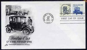 United States 1981-91 Transport - Electric Auto 17c on illustrated cover with first day cancel, SG 1877