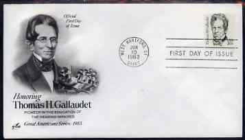 United States 1980-88 Great Americans - Thomas H Gallaudet 20c on illustrated cover with first day cancel, SG 1829