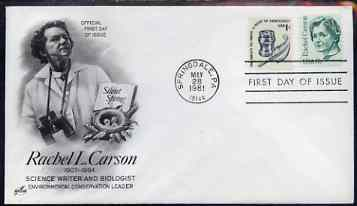 United States 1980-88 Great Americans - Rachel L Carson 17c on illustrated cover with first day cancel, SG 1825