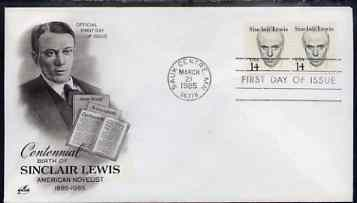 United States 1985-94 Great Americans - Sinclair Lewis 14c on illustrated cover with first day cancel, SG 2119