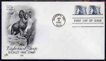 United States 1982 American Bighorn 20c on illustrated cover with first day cancel