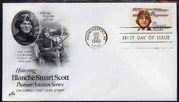 United States 1980 Aviation Pioneers - Blanche Stuart Scott on illustrated cover with first day cancel, SG A1839