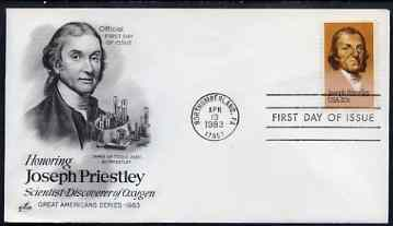 United States 1983 Joseph Priestly (discover of Oxygen) 20c on illustrated cover with first day cancel, SG 2026