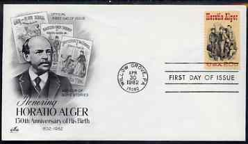 United States 1982 Birth Anniversary of Horatio Alger (novelist) on illustrated cover with first day cancel, SG 1987