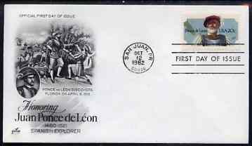 United States 1982 Ponce de Le\97n (Spanish explorer) on illustrated cover with first day cancel, SG 2001