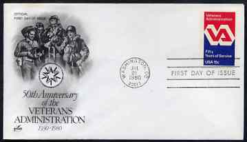 United States 1980 Veterans Administration 15c on illustrated cover with first day cancel, SG 1798