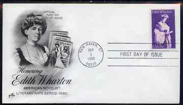 United States 1980 Literary Arts - Edith Wharton (novelist) on illustrated cover with first day cancel, SG 1805