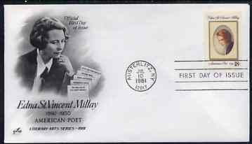 United States 1981 Literary Arts - Edna St Vincent Millay (poet) on illustrated cover with first day cancel, SG 1900
