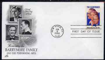 United States 1982 Performing Arts - The Barrymores (theatrical family) on illustrated cover with first day cancel, SG 1989