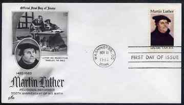United States 1983 500th Birth Anniversary of Martin Luther (religious reformer) on illustrated cover with first day cancel, SG 2062